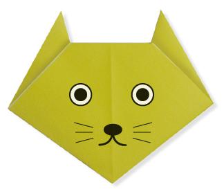 Мордочка кошки. Оригами.