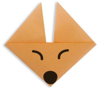 Мордочка лисицы. Оригами.