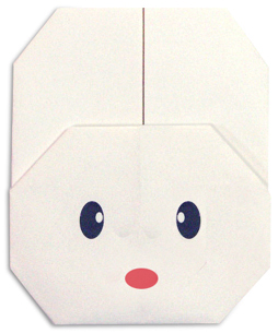 Мордочка зайки. Оригами.
